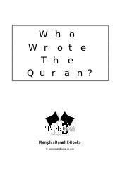 En Who Wrote The Quran
