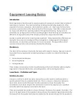 Equipment Leasing Basics