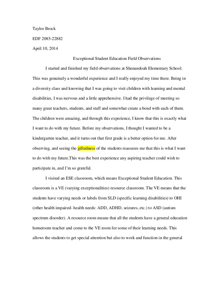 example of an observation essay