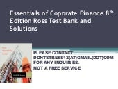 Essentials of Corporate Finance 8th edition Ross Test Bank and Solutions