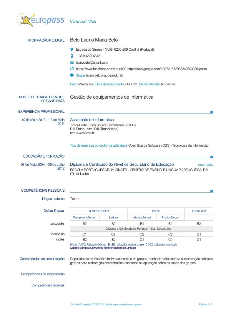 Europass Cv Template Portugues Funfndroid