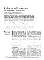 Evaluation and management of intest...