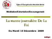 Exhortation Du 15 DeC09