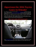 Experience the 2014 Toyota Camry in Orlando