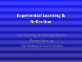 Experiential Learning  & Reflection