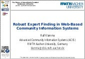 Robust Expert Finding in Web-Based ...