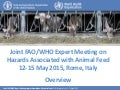 Joint FAO/WHO Expert Meeting on Hazards Associated with Animal Feed 12-15 May 2015, Rome, Italy - Overview