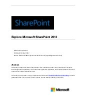 Explore share point 2013