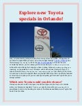 Explore new Toyota specials in Orlando!