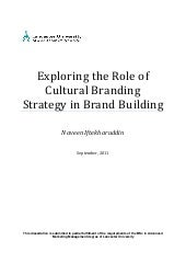 Exploring the role of cultural branding strategy in brand building
