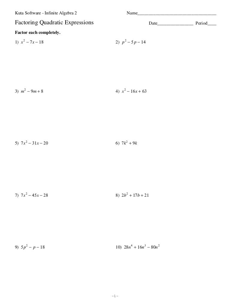 Worksheets Factoring Quadratic Equations Worksheet factoring quadratic worksheet nqlasers