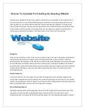 Factors to consider for creating an amazing website