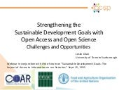 Strengthening the  Sustainable Development Goals with  Open Access and Open Science