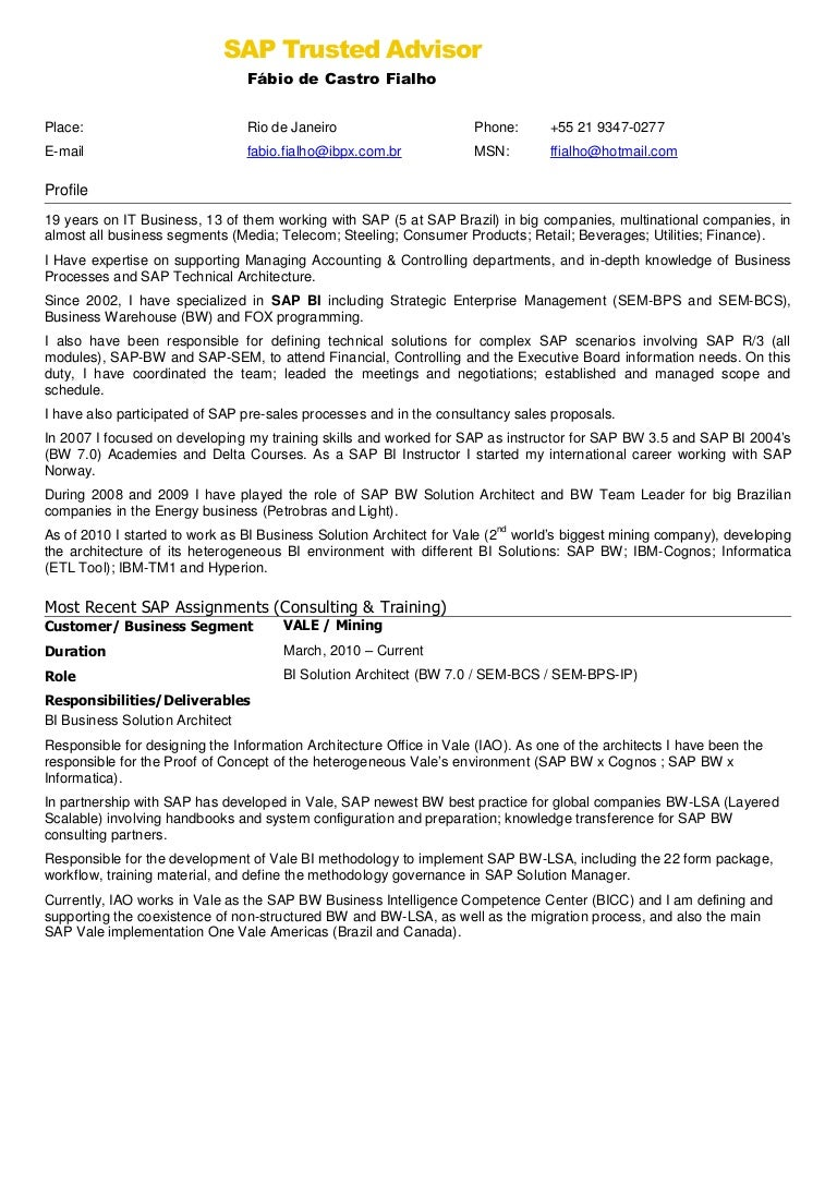 back to post sap bi sample resume for 2 years experience - Sample Sap Resume