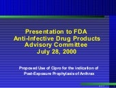 FDA  Anthrax Advisory Committee