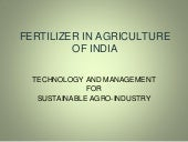 Fertilizer in agriculture of india