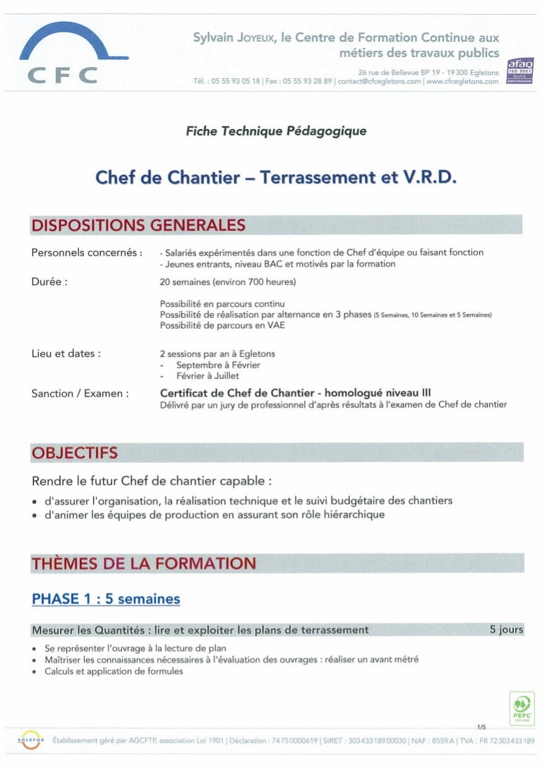 modele cv chef de chantier