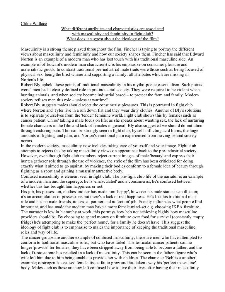 fight club essay masculinity and femininity