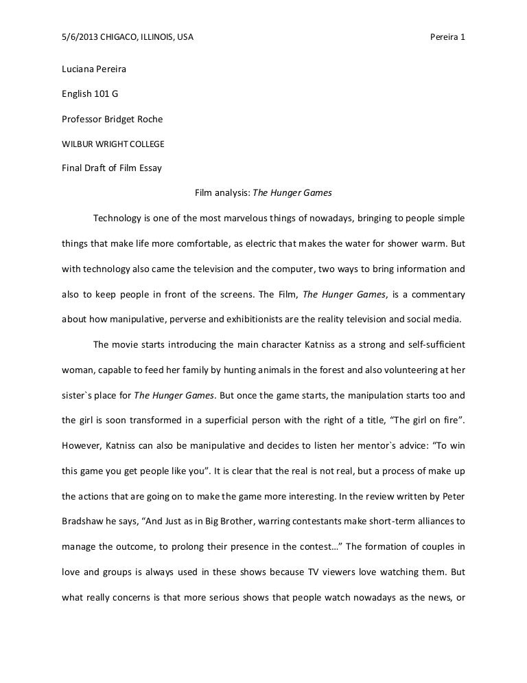 College Essay Paper Format Film Analysis The Hunger Games Wilbur Wright College  English Essay  Example  Compare And Contrast Essay High School And College also English Essays Samples Film Study Essay Example Of Film Analysis Using Miseenscene  Thesis Statement Examples For Argumentative Essays
