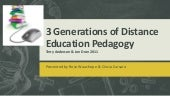 3 Generations of Distance Education Pedagogy, Terry Anderson & Jon Dron 2011