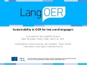 Sustainability in OER for less used...