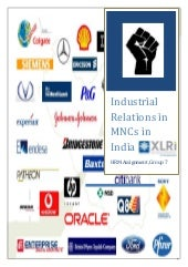 Industrial Relations of MNCs in India