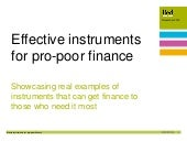 Effective instruments for pro-poor finance