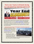 Find a new Toyota in Orlando during our extended Year End Closeout Event!