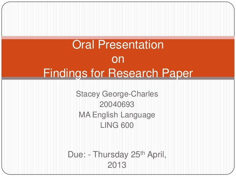 Findings in research paper
