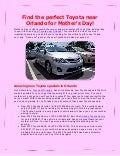 Find the perfect Toyota near Orlando for Mother's Day!