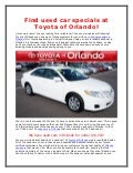 Find used car specials at Toyota of Orlando