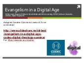 Evangelism in a Digital Age (CODEC Digital Theology Seminar)