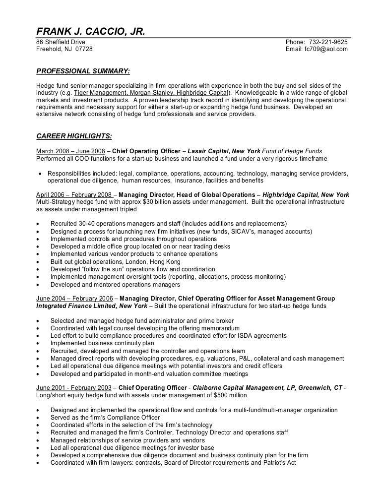 Hedge Fund Manager Sample Resumes Fjc Resume 7 10