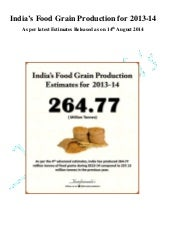 India's Food Grain Production Estimates as on 14 August 2014
