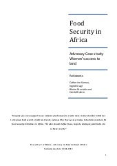 Food Security in Africa: advocacy c...