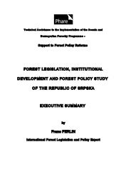 Forest legislation, institutional d...