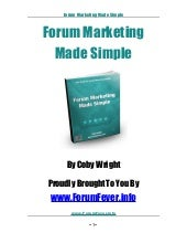 Forum Marketing Made Simple