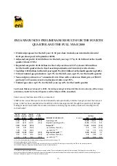Eni preliminary results for the fou...