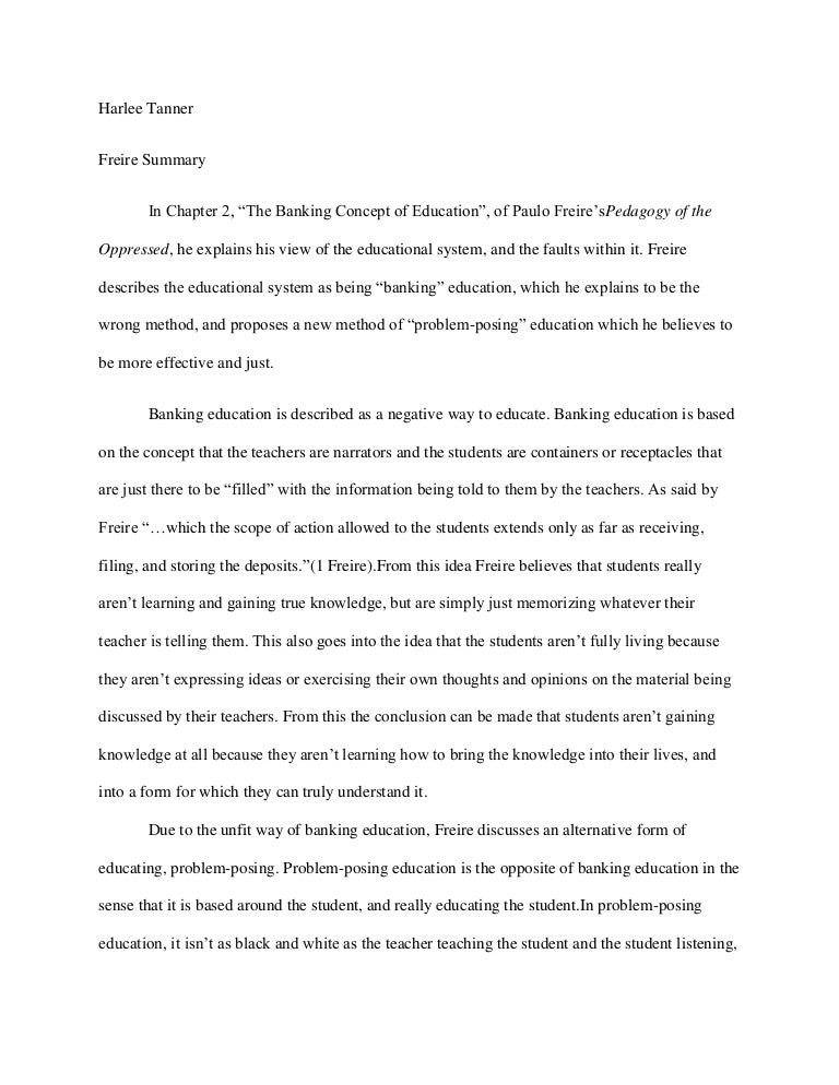 The banking concept of education essay