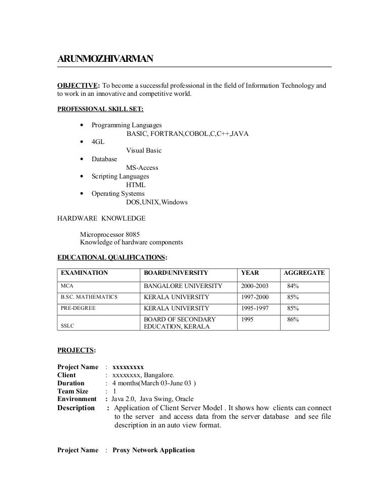 resume format for mca freshers doc custom writing at 10 www