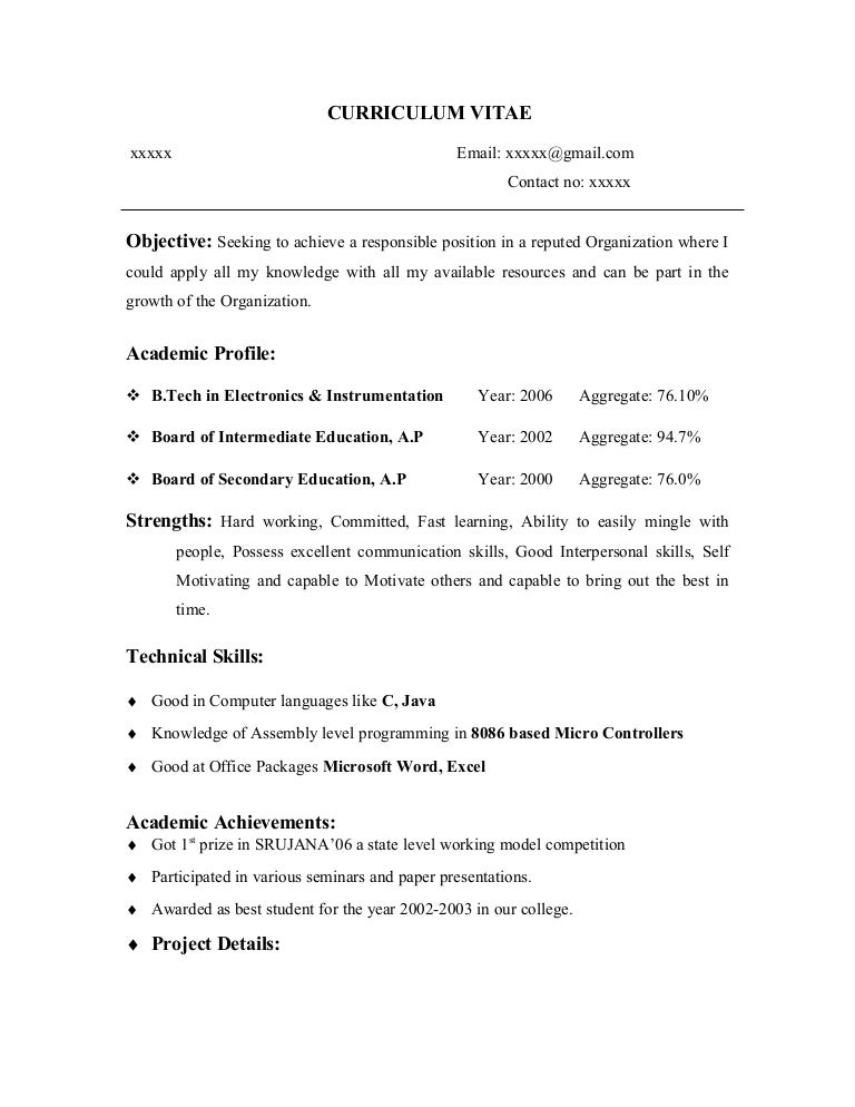 How To Make Cv Resume For Freshers. Resume Format For Fresher