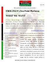 Frolinan's Ten Point Platform- What...