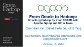 From oracle to hadoop with Sqoop and other tools