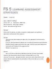 Fs 5 learning assessment strategies...