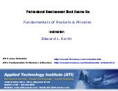 Fundamentals Of Rockets & Missiles