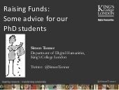 Raising Funds: some advice for our PhD students