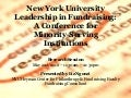 NYU Leadership in Fundraising: A Conference for Minority-Serving Institutions - RESEARCH SESSION