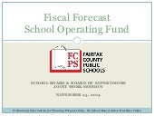 Fiscal Forecast School Operating Fund