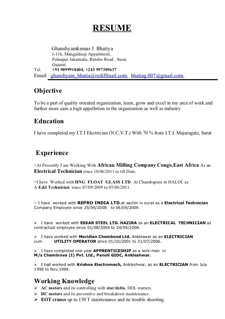 resume for electrician - thebridgesummit.co