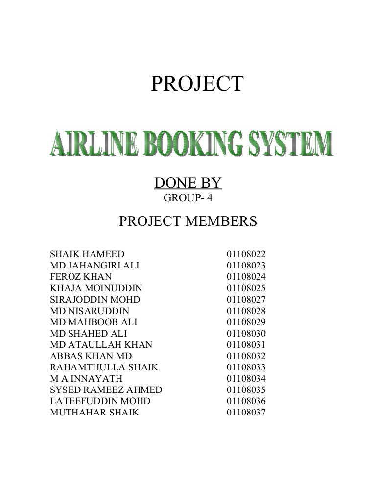 software requirement specification for airline reservation system